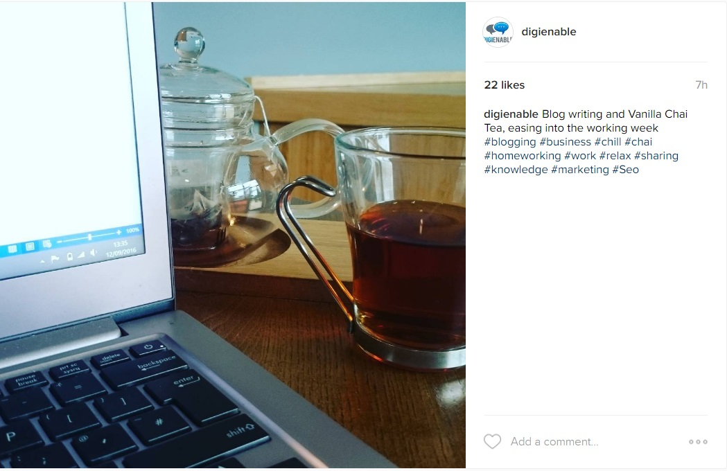 Tea and Blogging on Instagram